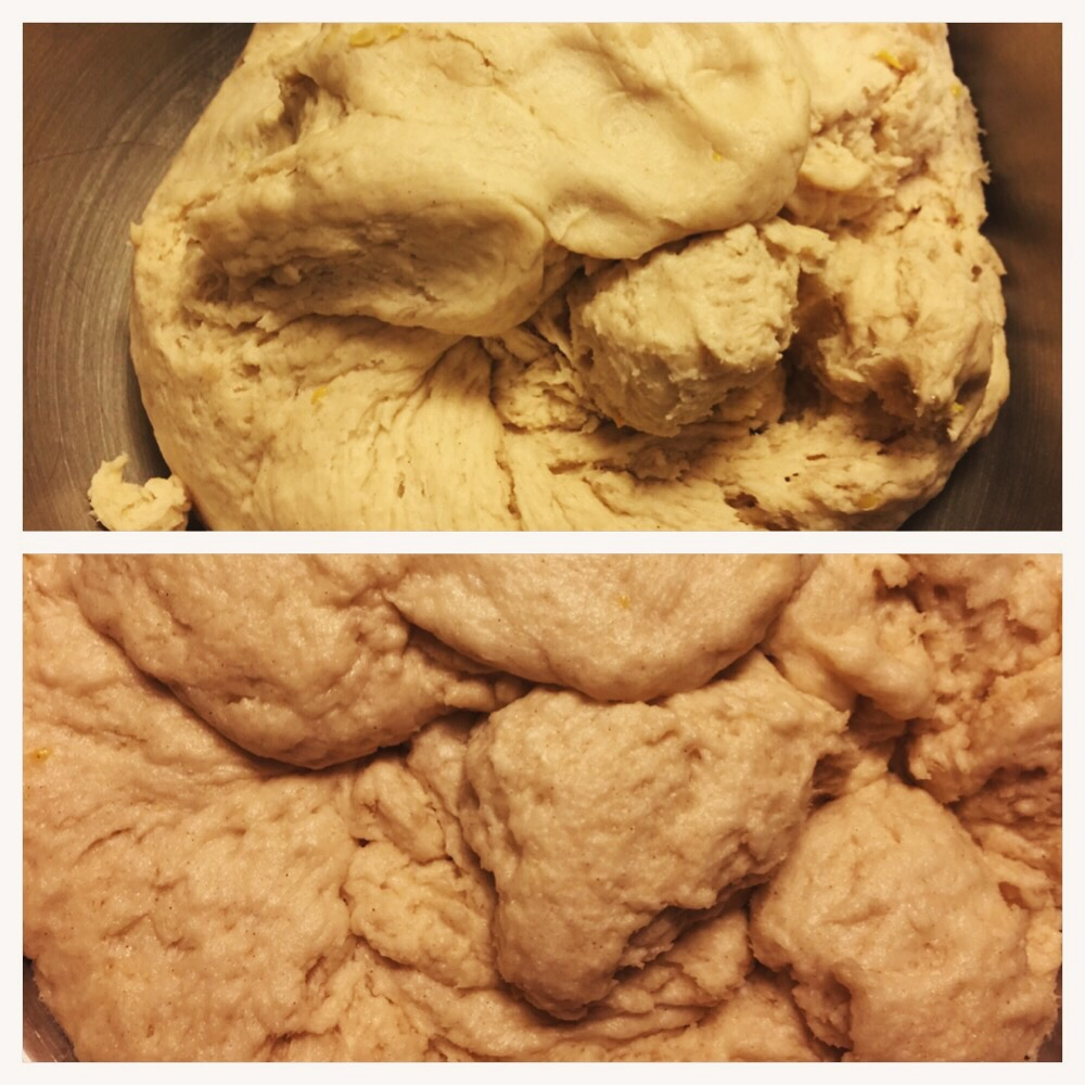 Dough, before and after rising